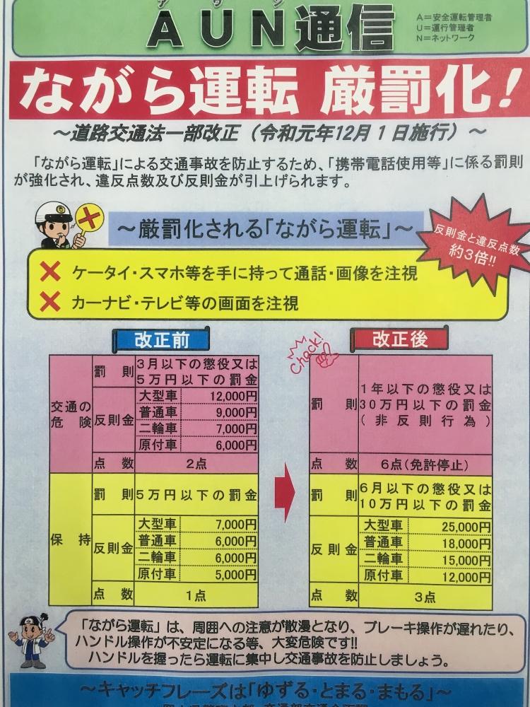 ながら運転厳罰化の恩恵(文:工務部 月田)